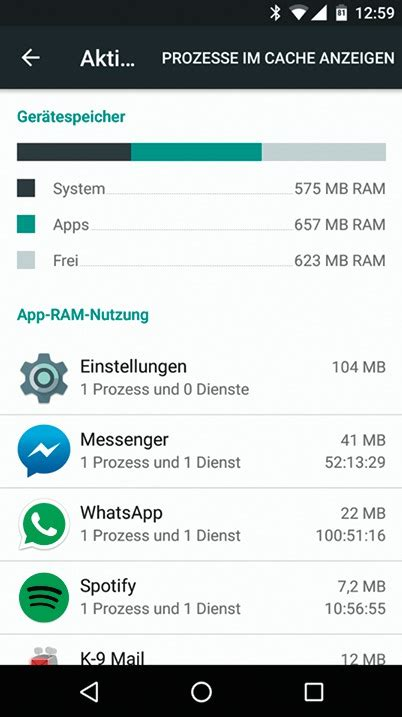 Aktive Prozesse bei Android 6