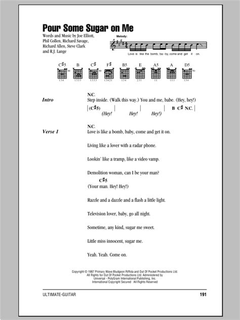 Pour Some Sugar On Me sheet music by Def Leppard (Lyrics