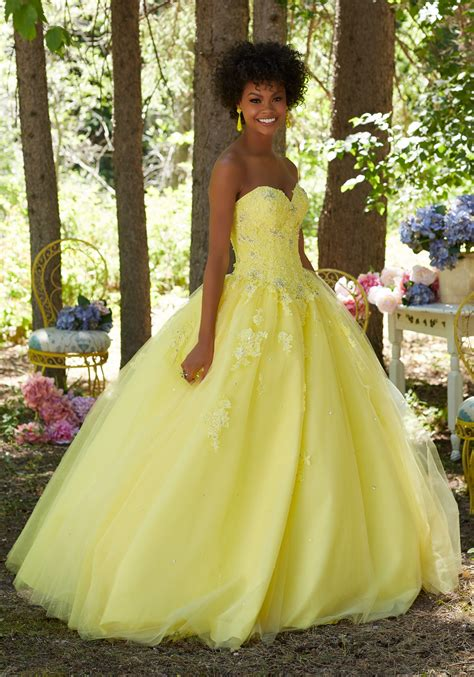 Prom Ballgown with Beaded Lace Sweetheart Bodice | Style