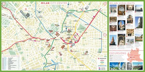 Milan tourist attractions map