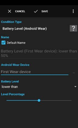 Condition - Battery Level (Android Wear)