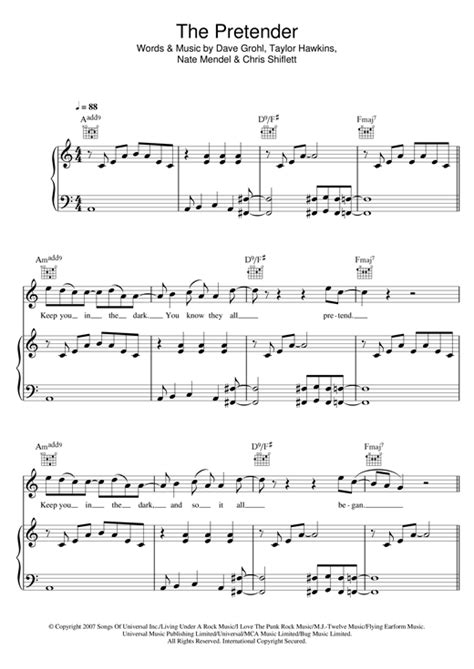 The Pretender sheet music by Foo Fighters (Piano, Vocal