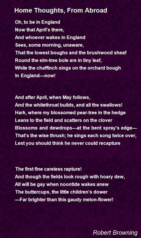 Home Thoughts, From Abroad Poem by Robert Browning - Poem