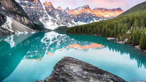 Wallpaper Moraine Lake, Banff, Canada, mountains, forest