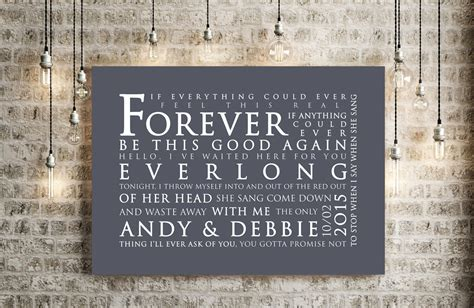 Foo Fighters Everlong Inspired Lyrics Print Love Song Wall Art