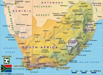 Map of South Africa Football Worldcup 2010 - Map in the