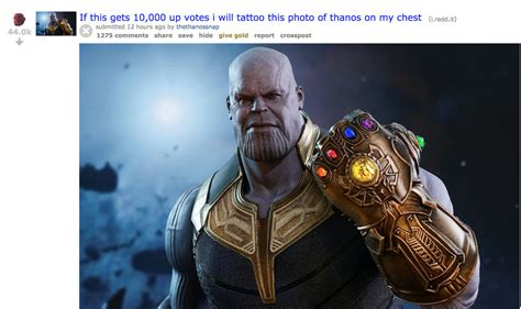 Thanos Reddit ban gets bad cosplay, tattoo promises and