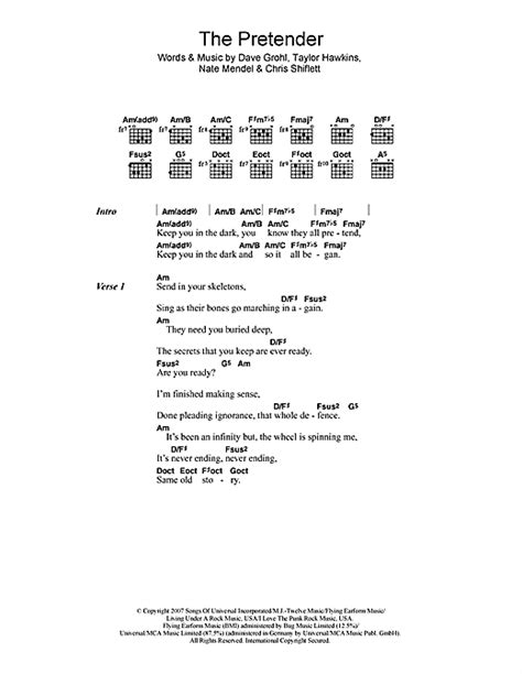 The Pretender sheet music by Foo Fighters (Lyrics & Chords
