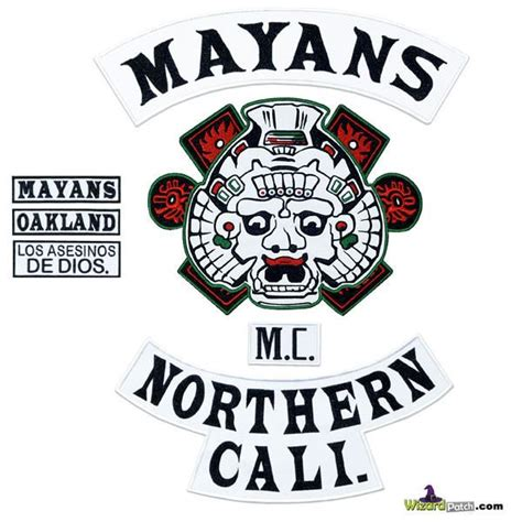 MAYANS MC FULL BACK EMBROIDERED PATCH SET 7 PIECE BLACK